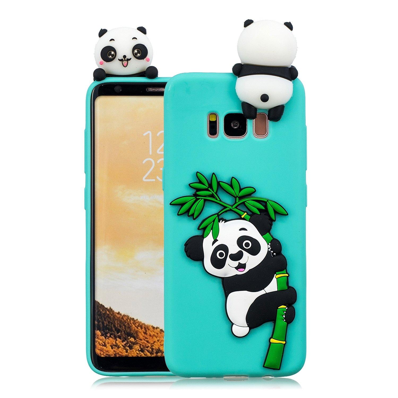 HopMore Coque Samsung Galaxy S8 Plus Silicone Souple 3D Design Motif Drô le Mignonne Etui É tui Antichoc Ultra Mince Fine Gel Slim Case Housse Protection pour Fille Femme - Panda Bleu