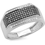 0.40 Carat (ctw) Sterling Silver Round Black & White Diamond Men's Ring (Size 11)