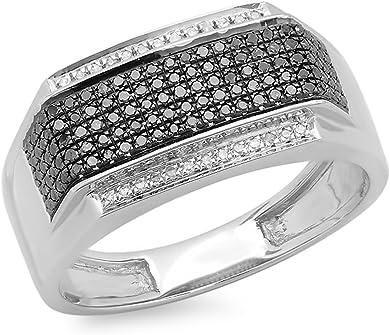 anillo de plata en platino con diamantes negros y blancos
