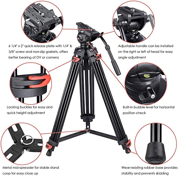 Color : Black Todayday Soft Camera Protective case Heavy Duty Video Camera Tripod Action Fluid Drag Head with Sliding Plate for DSLR /& SLR Cameras Small Size