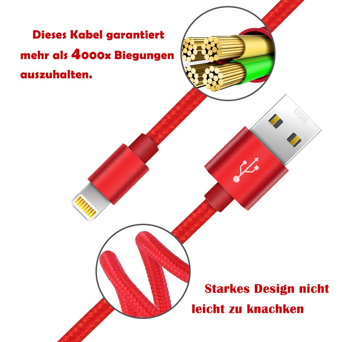 Zeuste Nylon Kabel 4*1.5m iPhone Ladekabel: Amazon.de: Elektronik