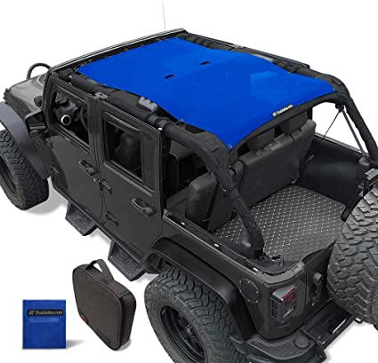 Shadeidea Jeep Wrangler Sun Shade JK Unlimited Rear-Black Mesh Screen Sunshade SAHARA RUBICON SPORT S Top Cover UV Blocker with Grab Bag-One time Install 10 years Warranty