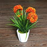 XICHEN Artificial Potted Plant, Hydrangea, 10Inch (Orange)