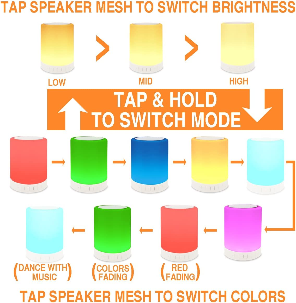 ZHOPPY Night Light Bluetooth Speakers, Touch Control ...
