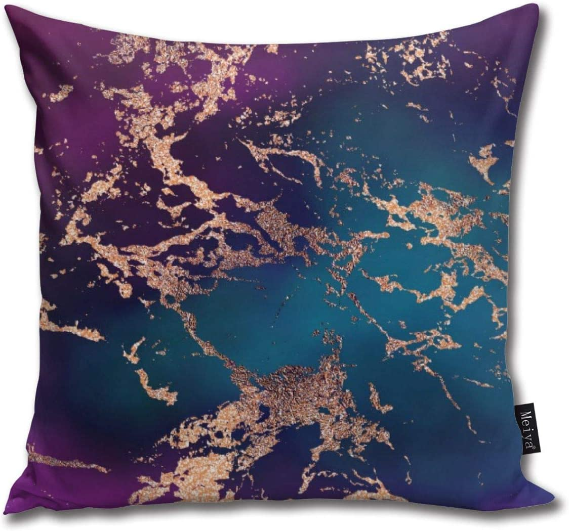 Amazon Com Marble Luxe Decor Dark Purple And Teal With Gold Funny Square Pillow Cases Cushion Cover For Bedroom Living Room Decorative 18 X 18 Home Kitchen