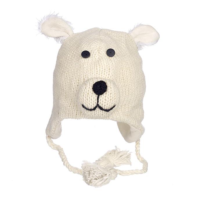 Gorro de lana y forro polar hecho a mano con forma de oso 86a757654a2
