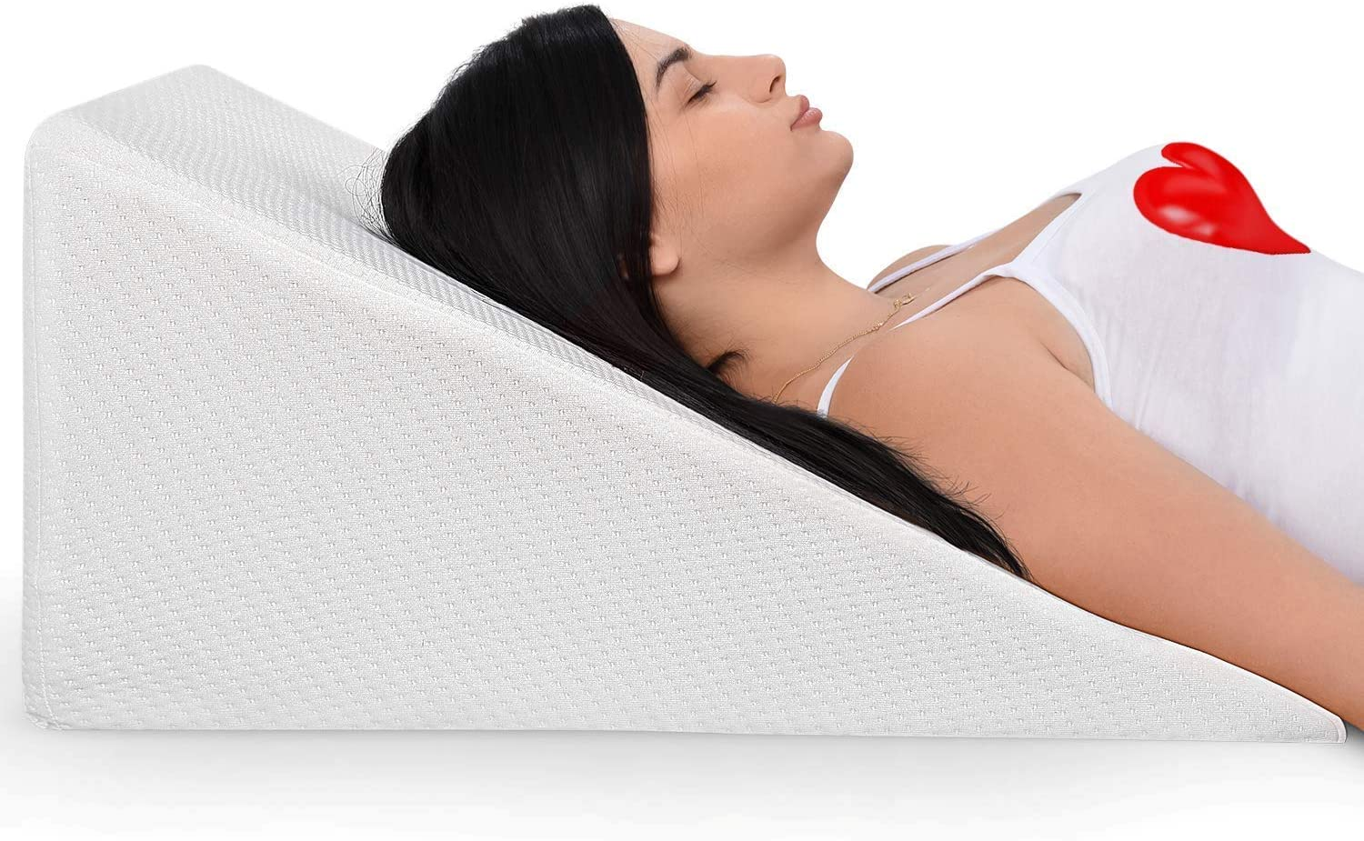 Bed Wedge Pillow With Memory Foam Top Ideal For Comfortable Restful Sleeping Alleviates Neck Back Pain Acid Reflux Snoring Heartburn Allergies Versatile Removable Washable Cover
