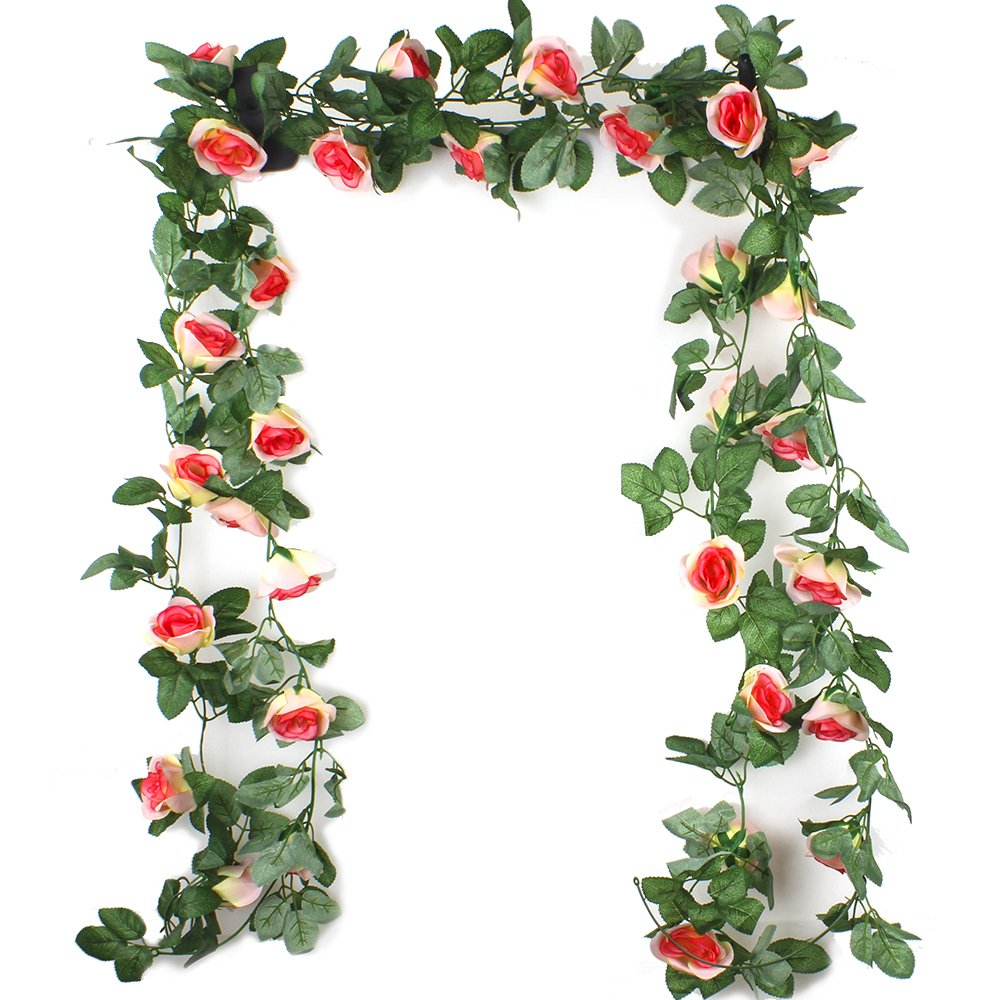 Ezeso 7.5FT Artificial Flower Rose Garland Vine with Green Leaves Fake Hanging Plant Flower Garland For Wedding Party Garden Wall Valentine Decoration (2 PACK, Champagne) EZESO.CO.LTD