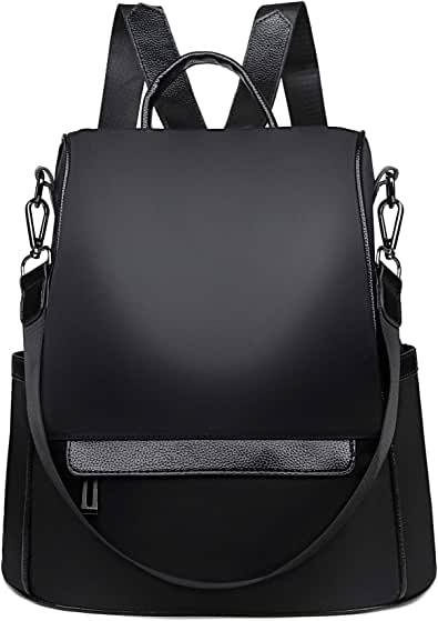 Backpack Purse for Women Anti-theft Waterproof Nylon Convertible Rucksack Lightweight Fashion Travel Shoulder Bag