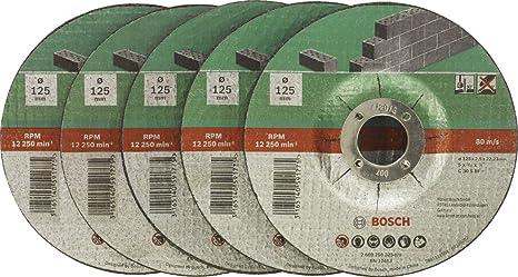 Sehr Bosch DIY Trennscheibe Stein (für Winkelschleifer, 5 Stück, Ø 125 HO75