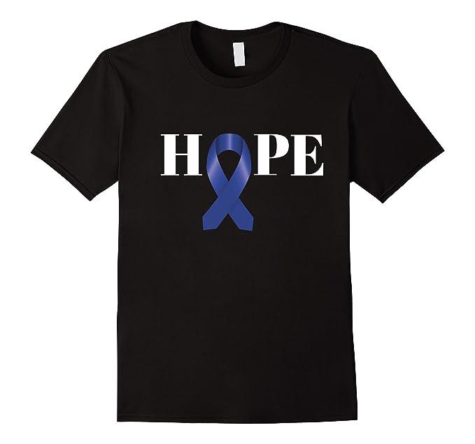 mens colon cancer shirt hope blue ribbon cancer awareness shirt 2xl black