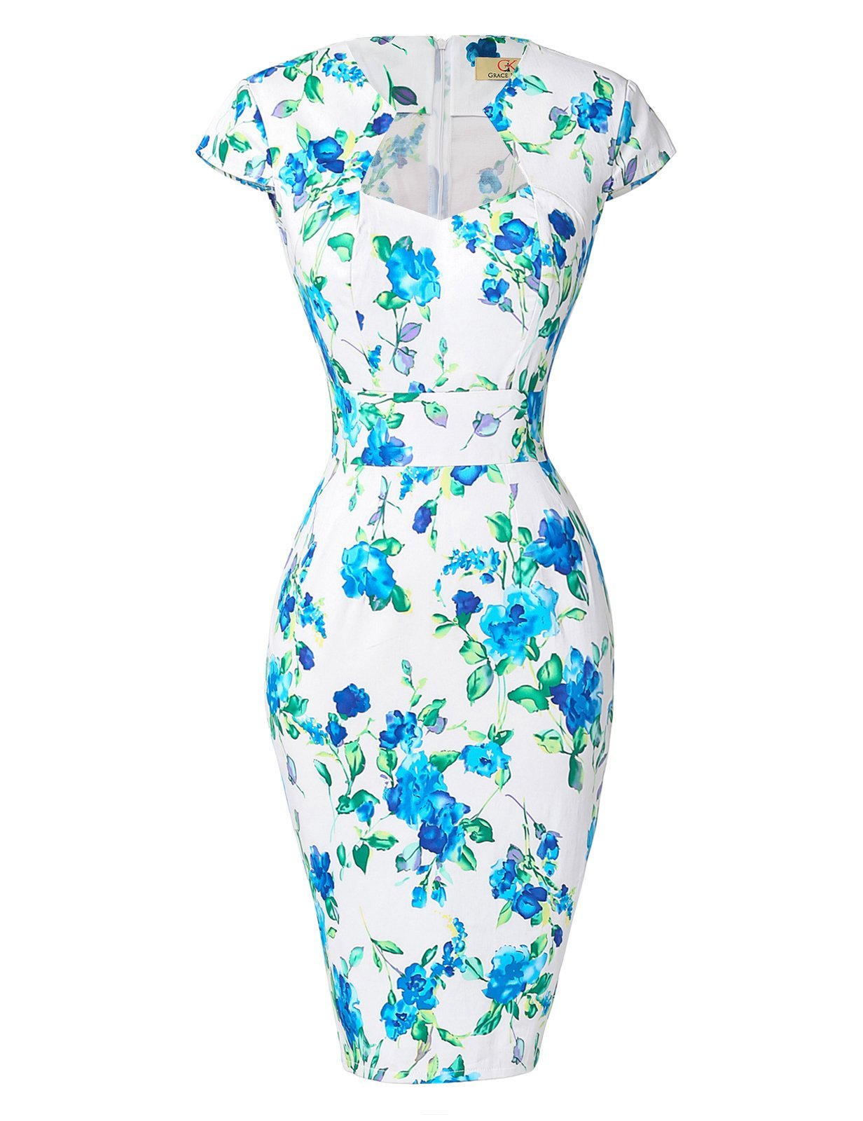 50s Style Blue Floral Wiggle Dress Bodycon Pencil Dresses S CL7597-8