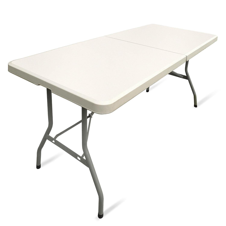 Relaxdays Table de jardin pliable BASTIAN optique rotin grande