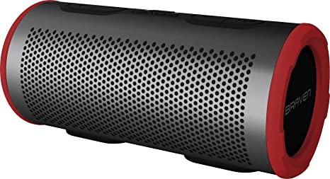 Braven Stryde 360 Degree Sound [2500 mAh] Waterproof Bluetooth Speaker -  Gray/Red