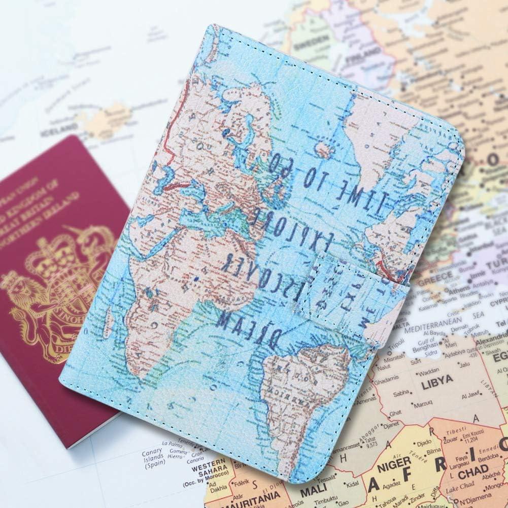 Personalise Porte-passeport carte du monde Imprimer documents de voyage ID Housse Cadeau
