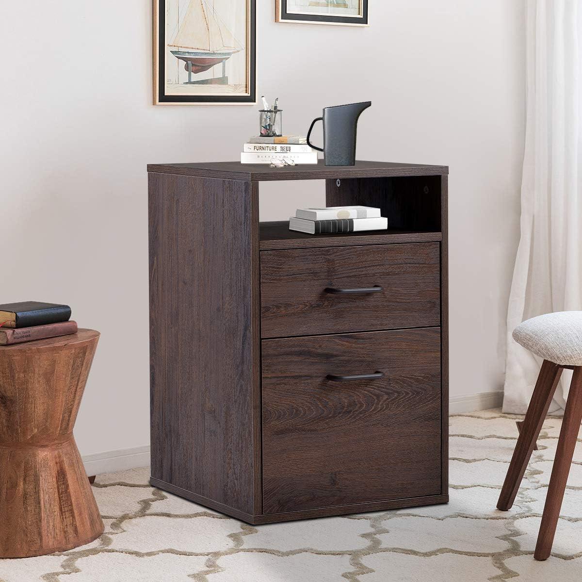 Henf 2 Drawer Chest Dresser Wooden Storage Dresser Cabinet for Closet, Filing Cabinet Unit for Bedroom, Living Room and Hallway Walnut