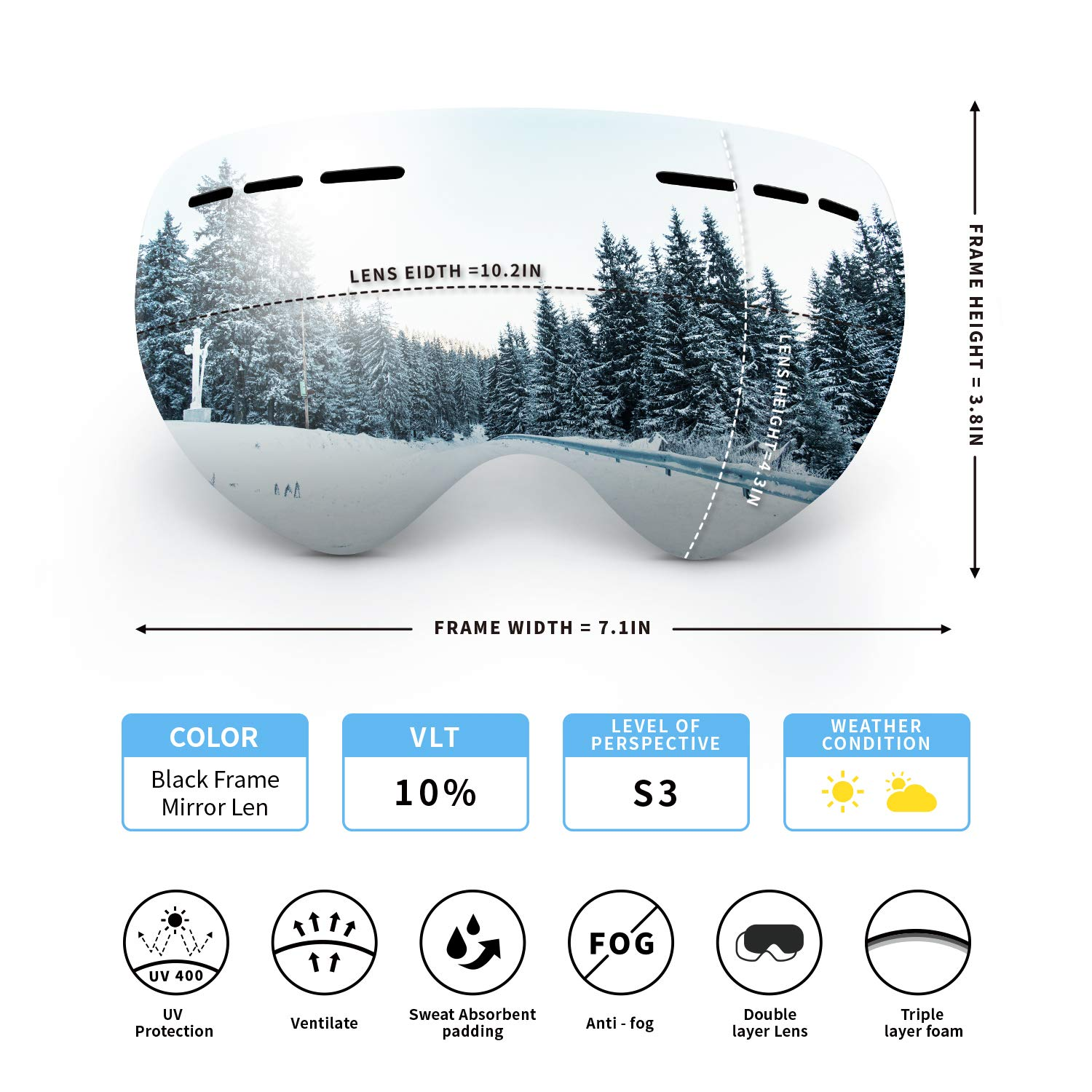 OBOSOE Ski Snowboard Snow Goggles, Interchangeable Lens 100 UV400 Protection Snow Goggles Adult Men,Women,Youth,Boys-Anti-Fog Wide Spherical Safety Goggles