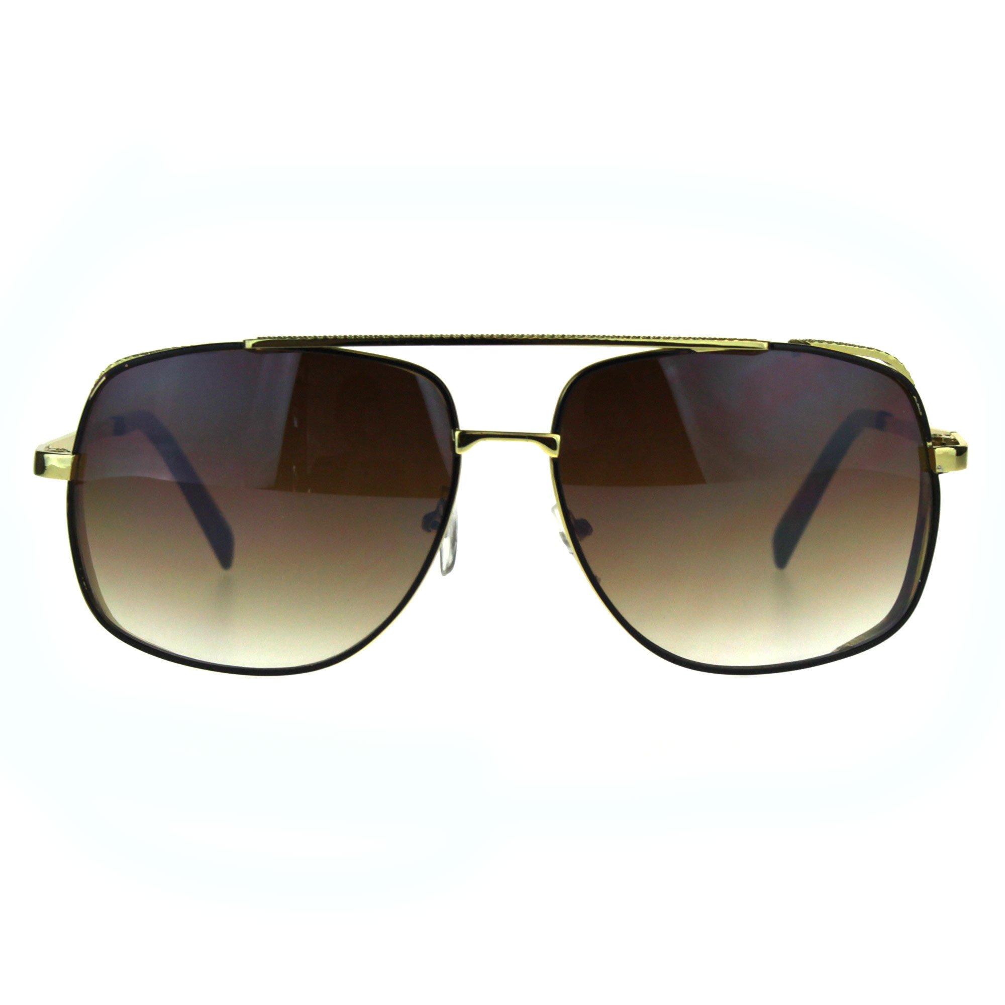 Mens Luxury Fashion Rectangular Racer Metal Rim Pilots Sunglasses Gold Brown Smoke by SA106