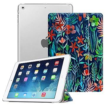 FINTIE Funda para iPad Air - Trasera Transparente Mate Carcasa Ligera con Función de Soporte y Auto-Reposo/Activación para iPad Air 2013, Jungla