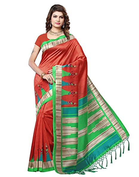 e VASTRAM Art Silk with blouse piece Saree Sarees