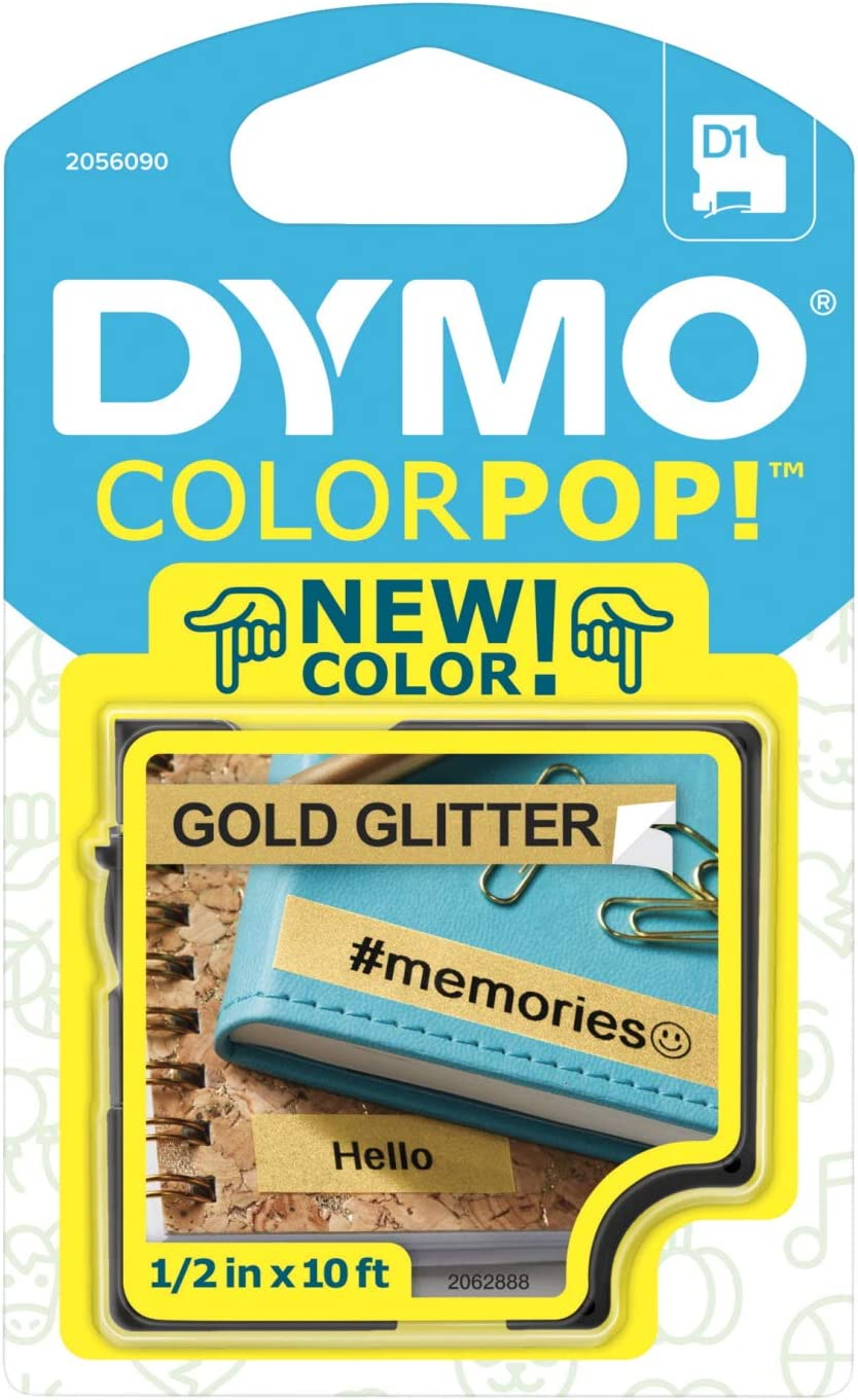 "DYMO COLORPOP Authentic Label Maker Tape, 1/2"" W x 10' L, Black Print on Gold Glitter, D1 Standard"