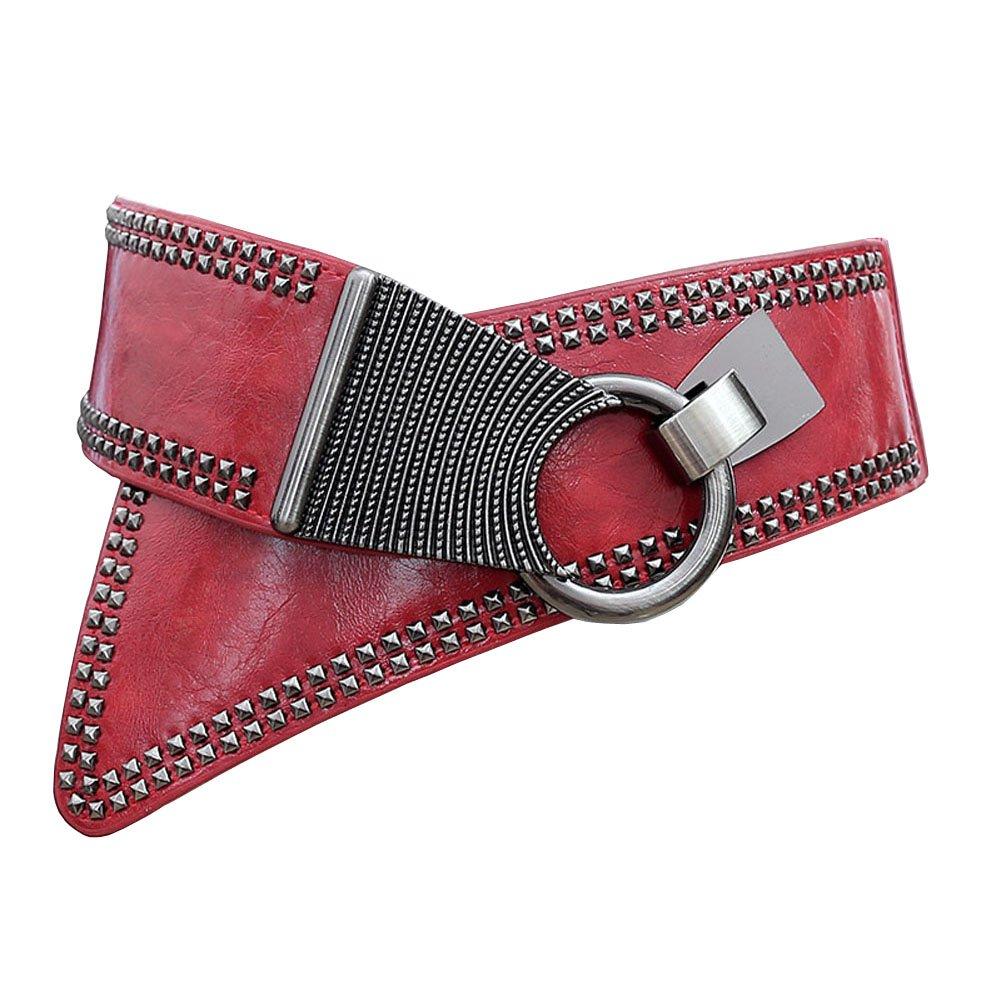 Aecibzo Women's Leather Fashion Wide Elastic Stretch Waist Belt Waistband Black) AZXB730-1