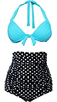 Cocoship Retro Red Leopard Polka Floral Print High Waist Bikini Swimsuits(FBA)