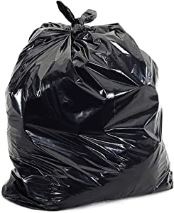 60 Gallon Extra Large Contractor Trash Bags 3 Mil, Durable Heavy Duty Drum Liner, Made in USA, Tough Garbage Bags for Cleanups 3mil (50)-41x55