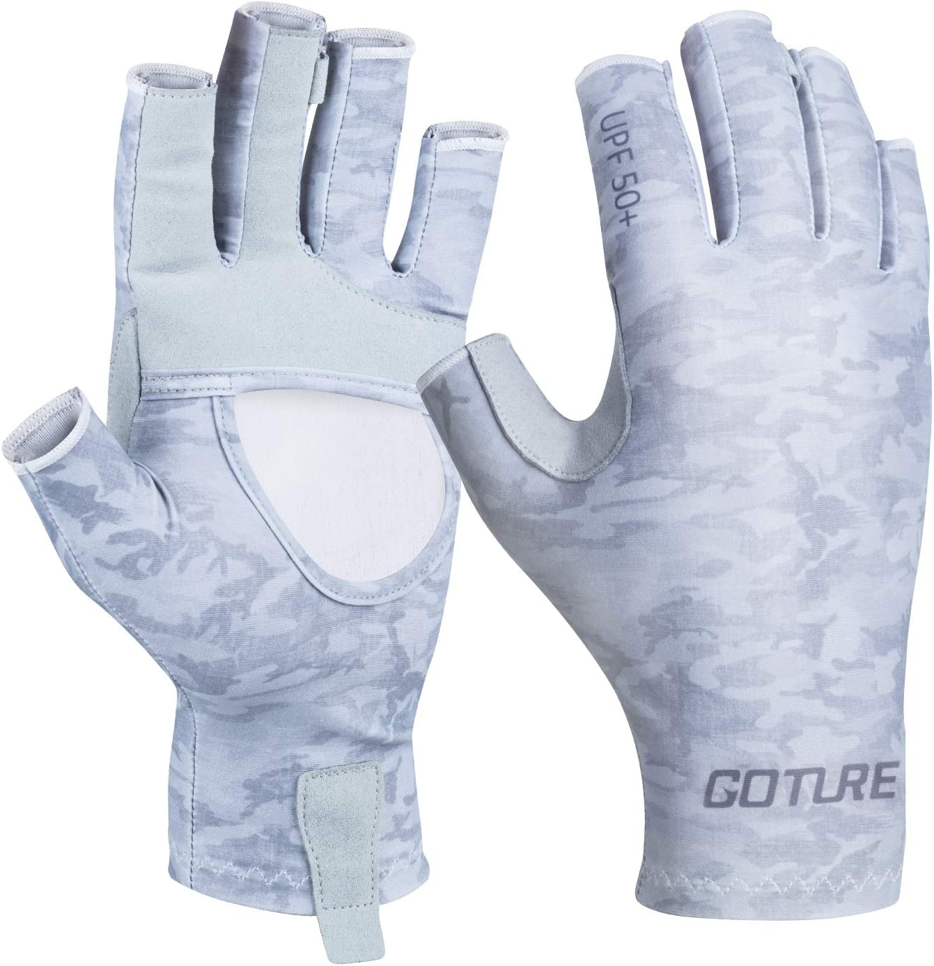 Goture UV Fishing Gloves Men,Sun Protection Fingerless Gloves UPF 50+ Breathable Cooling Gloves for Fishing for Hiking Kayaking Padding Canoeing Rowing(Gray Blue Black S/M L/XL)