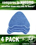 4 Pack for Hoover Multi-Surface Microfiber Steam Mop Pads (compares to WH01000). Genuine Green Label Product.