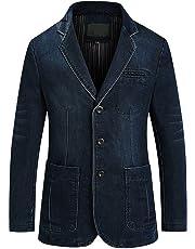 chouyatou Men's Classic Notched Collar 3 Button Tailoring Denim Blazer Jacket
