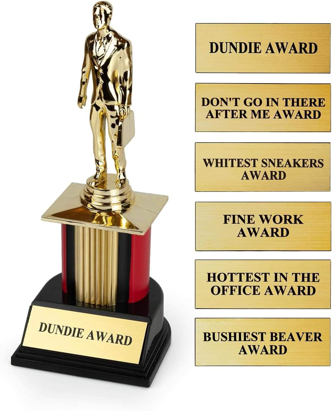 The Office Dundie Award Replica Trophy | Host Your Own The Office Dundies Awards Ceremony | Includes 6 Interchangeable Title Plates | Measures 8 Inches Tall
