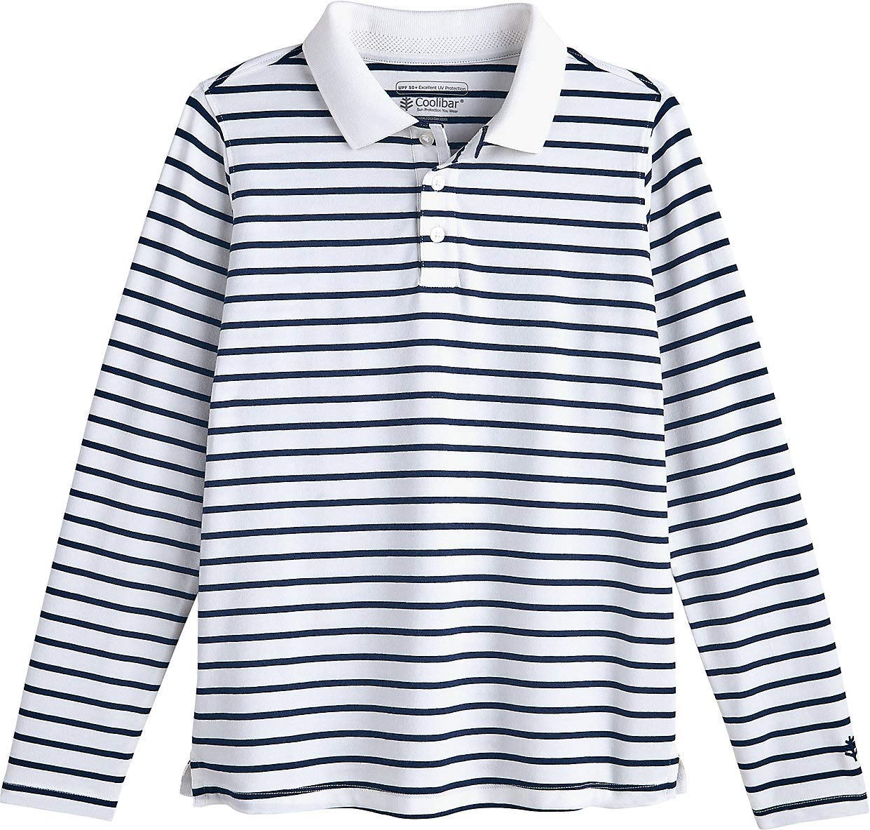Coolibar UPF 50+ Kid's Weekend Polo - Sun Protective (Large- Navy/White Stripe)