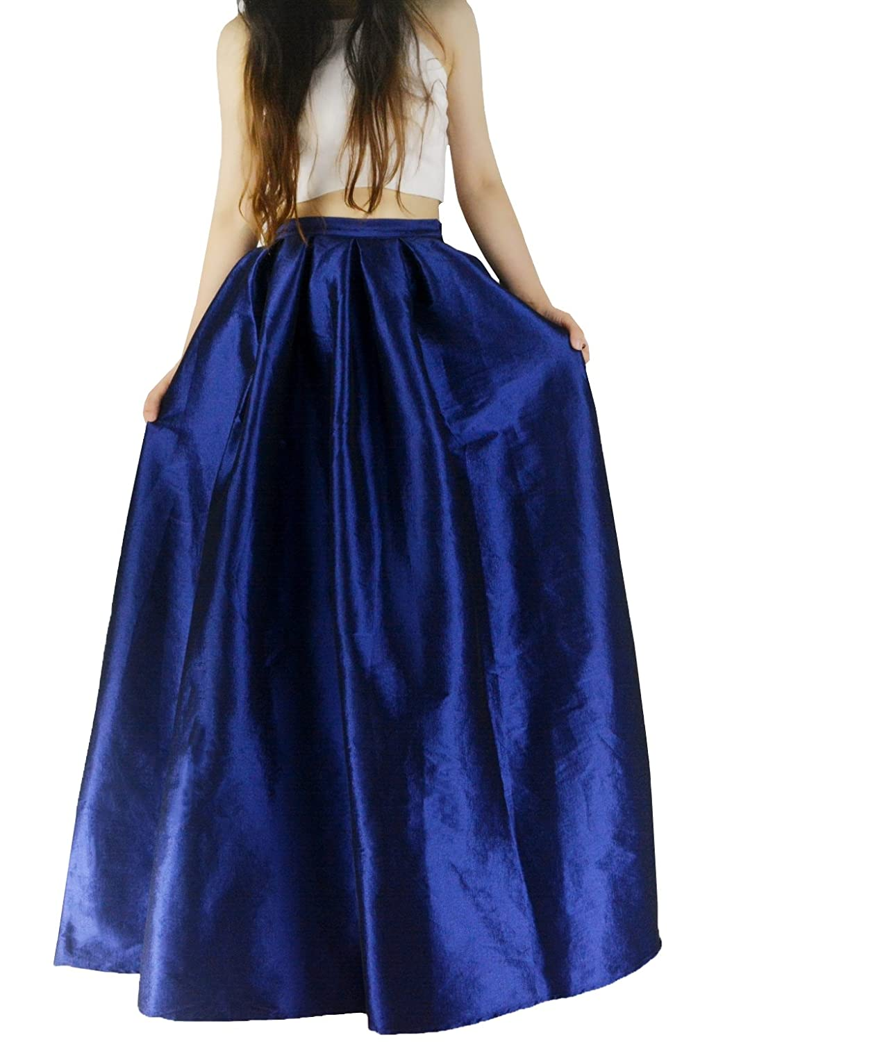 YSJ Women's A-Line Pleated Maxi Skirts Party Swing Skirt w/ Pockets (8, Royal )