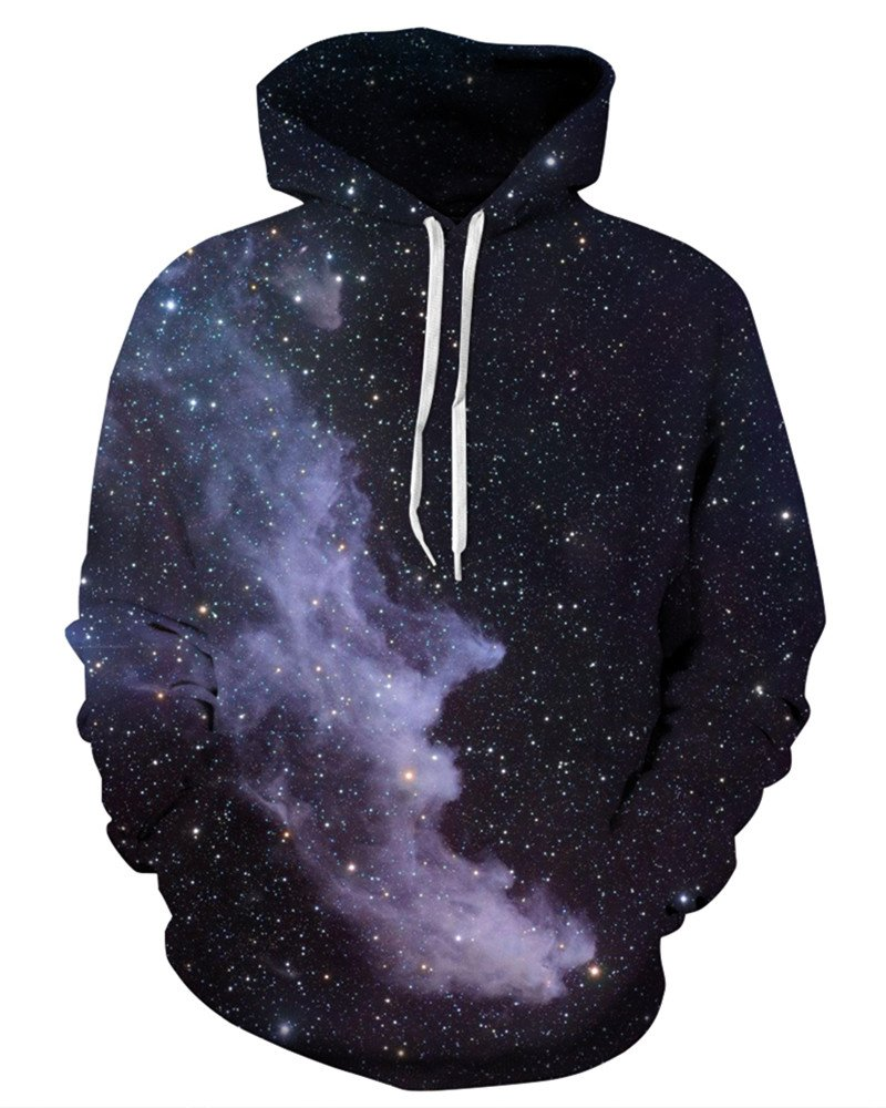 NAYINLAN Unisex Couple 3D Galaxy Print Pullover Hoodie Hooded Sweatshirt,Black