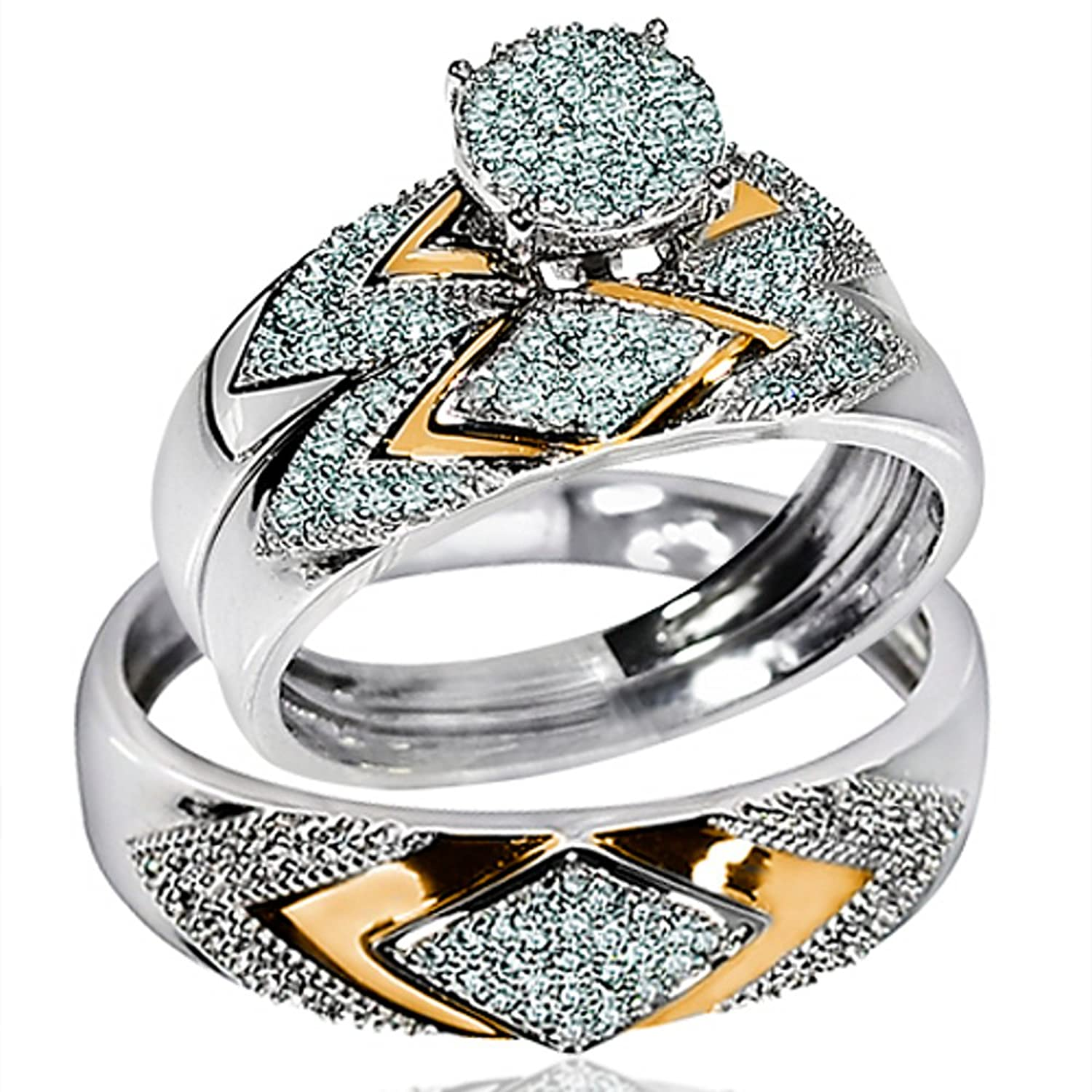 Amazon His Her Wedding Rings Set Trio Men Women 14k White Gold Two Tone I2 I3 Clarity I J Color Jewelry
