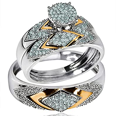 his her wedding rings set trio men women 14k white gold two tone i2 - 14k Gold Wedding Ring Sets