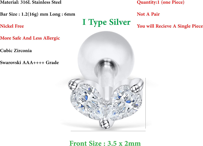 ONDAISY Boucles doreille /à tige en forme de c/œur plaqu/é or 14 carats avec zircone cubique