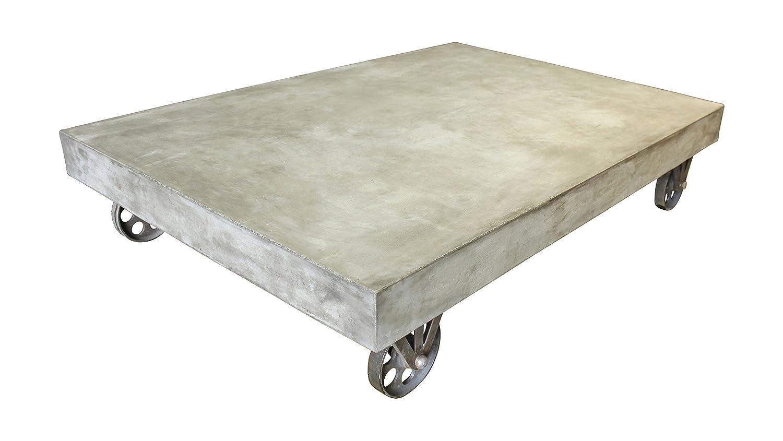 sit m bel 9975 13 couchtisch cement 90 x 130 x 28 cm leichtbeton mit rollen grau g nstig. Black Bedroom Furniture Sets. Home Design Ideas