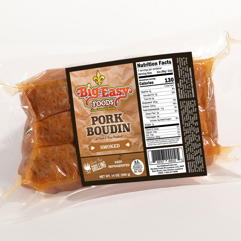 Big Easy Foods Smoked Pork Boudin 14oz. (4 Pack)