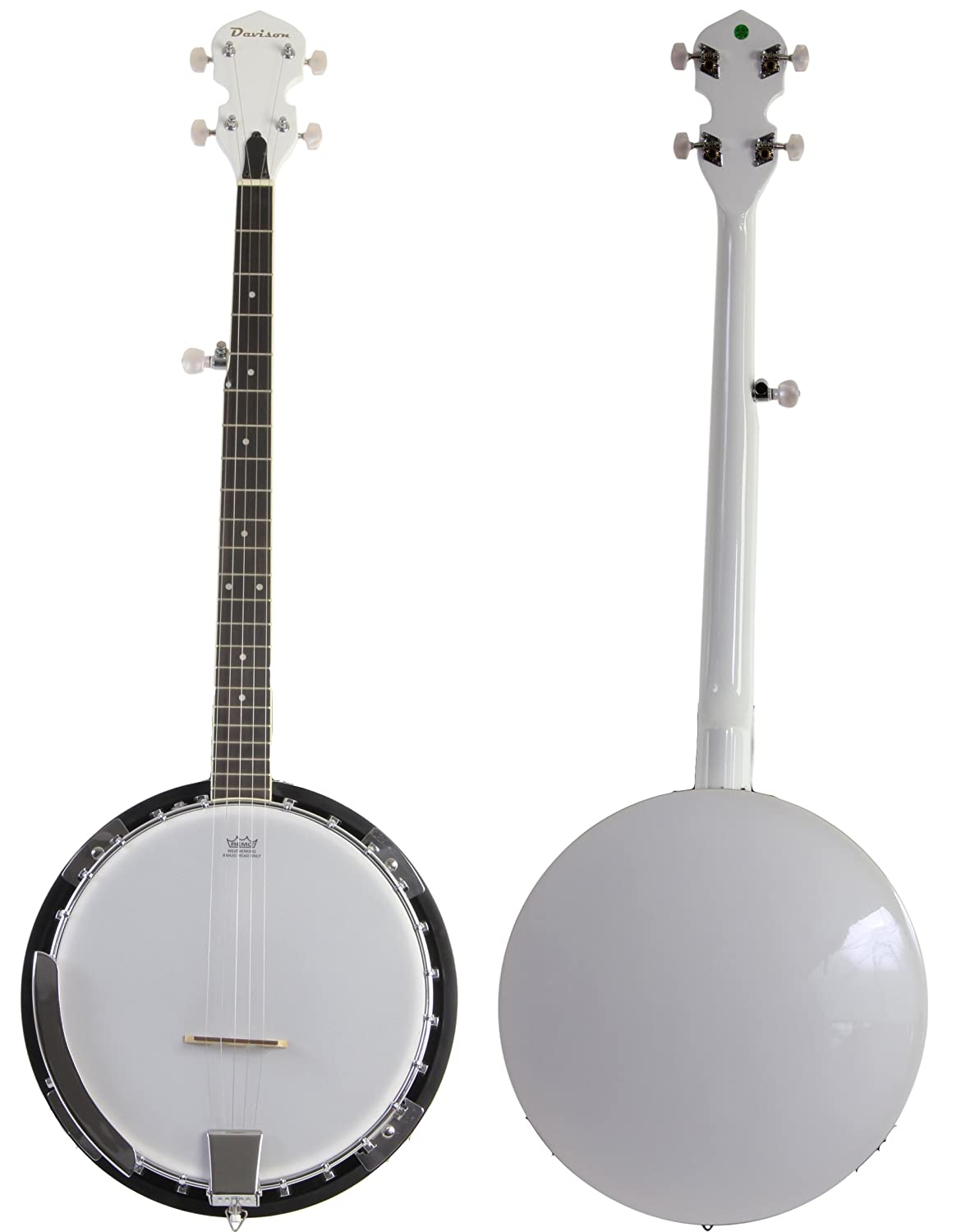 Jameson Guitars White Jameson 5 String Banjo with Closed Back and Geared 5th Tuner (BJ005 WHT)