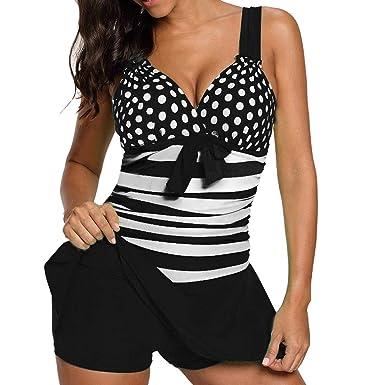 c8e94e0dfd 2019 Women Plus Size Set Boy Shorts Dot Padded Push Up Swimdress Beachwear ,Black,