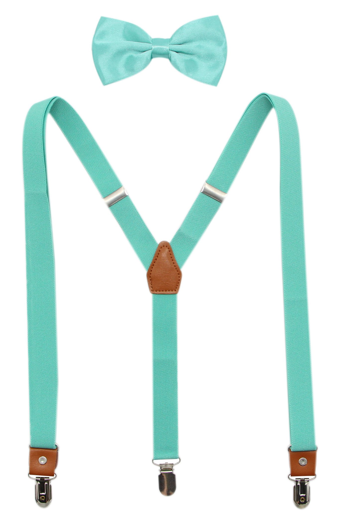 Suspenders And Pre-Tied Bowtie Set For Boys And Men By JAIFEI, Casual And Formal (Boys(33 Inches), Teal)
