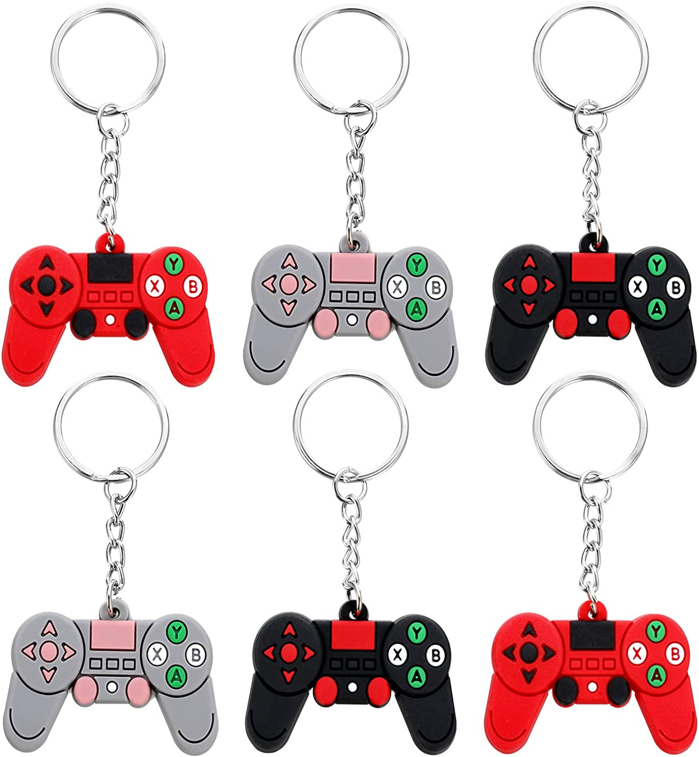 6 Styles 36 Pieces Video Game Bracelets and Keychains Rubber Wristbands and Keychains for Gamer Birthday Party Baby Shower Party Favors