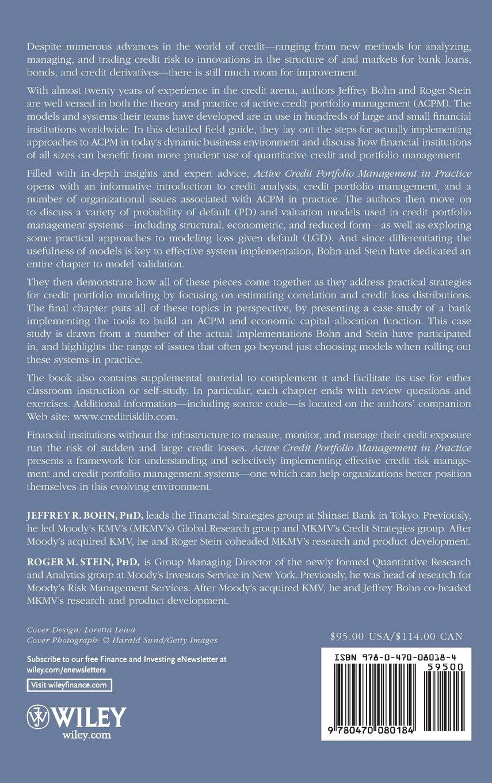 Active Credit Portfolio Management in Practice: Jeffrey R