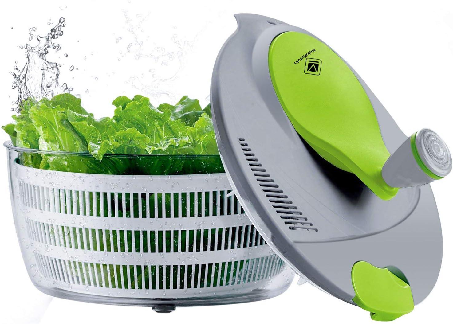 kalokelvin Salad Spinner 4 Quarts Quick Vegetables Dryer BPA Free Drain Lettuce and Vegetable for Home Kitchen