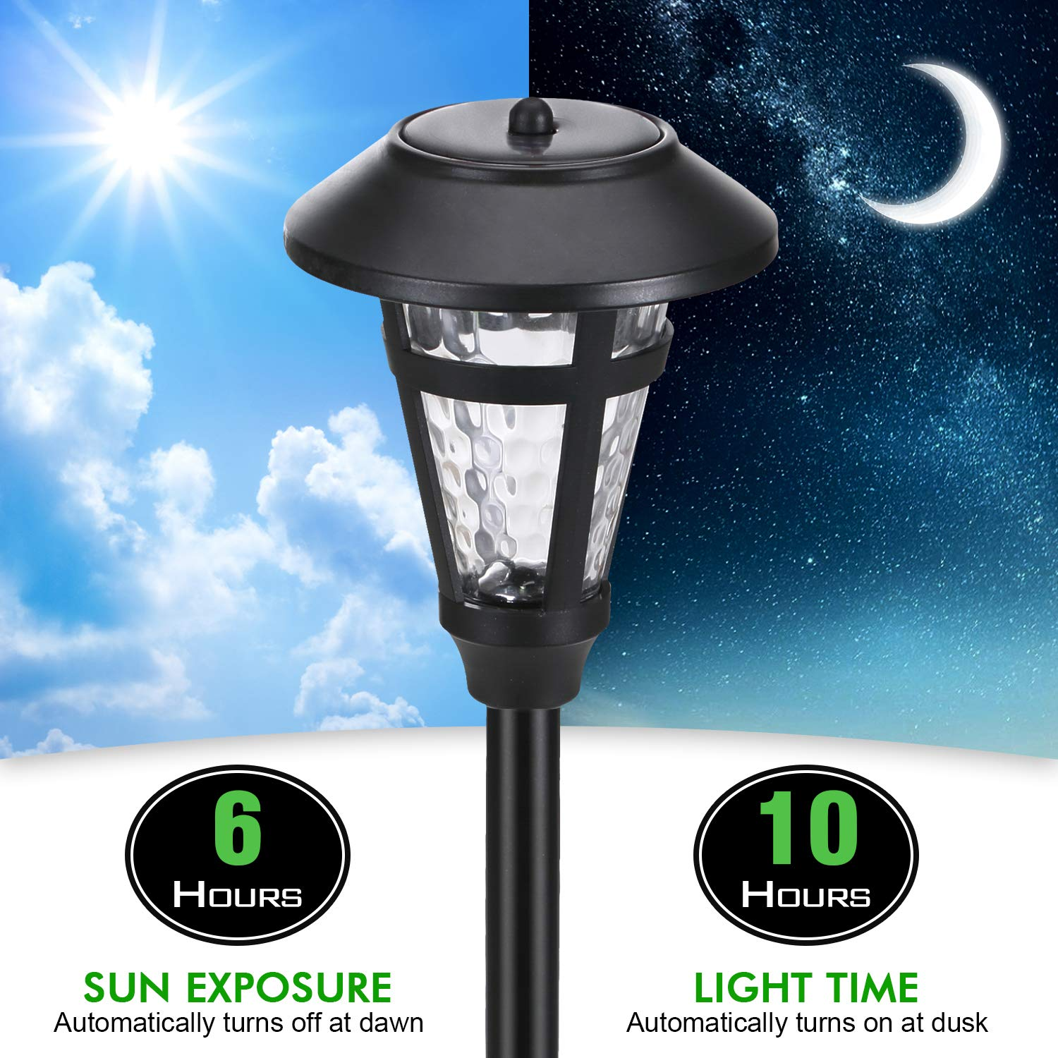 Solar Pathway Security Lights for OutdoorWall Backyard Fence Garage Garden Driveway 6 Pack AZIRIER Solar Lights Outdoor Waterproof Outdoor Garden Lights