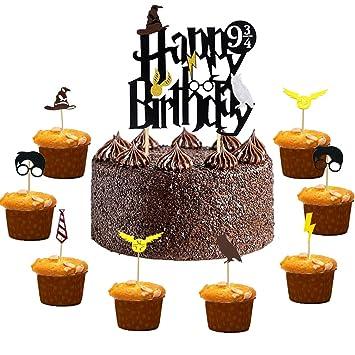 0e544fe2d Harry Potter Cake Toppers Cumpleaños Decoraciones de Pastel Cupcake Toppers para  Cumpleaños Partido  Amazon.es  Hogar
