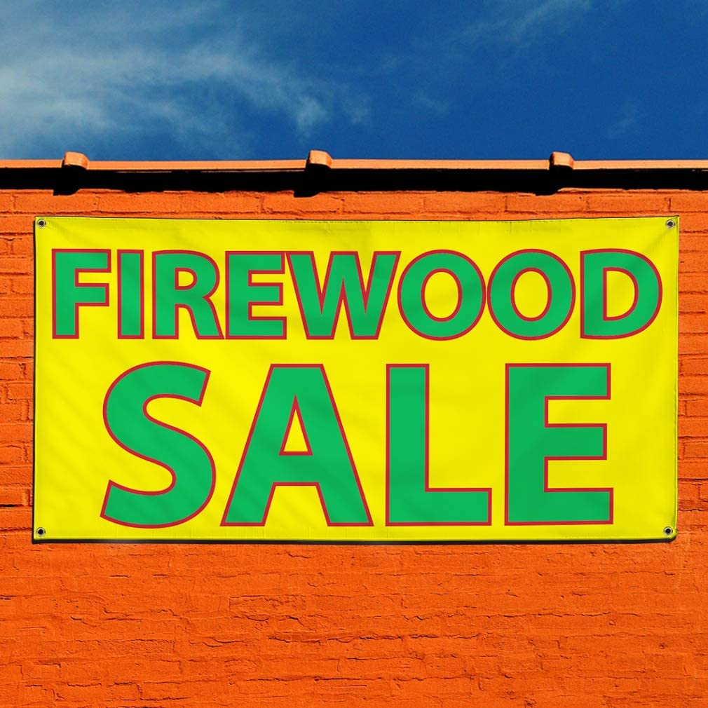 Set of 3 Multiple Sizes Available 24inx60in 4 Grommets Vinyl Banner Sign Firewood Sale Style A Business Firewood Marketing Advertising Yellow