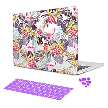 Batianda Beautiful Pattern Pink Flamingo Floral Design Protective Cover Sleeve Case with Purple Keyboard Skin for New Apple MacBook Air 13 inch 2018 ...